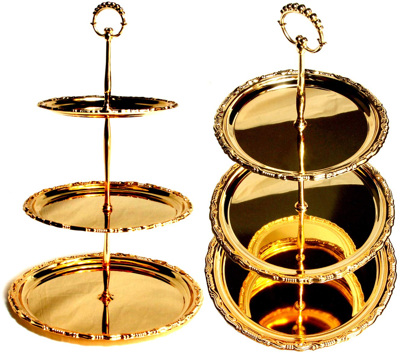 Maro Megastore (Pack of 2) L-12.1'' M-10'' S-8.1'' Three Tiered Iron Gold Serving Stand Serving Tray For Parties Round Platter Cupcakes Fruits Dessert Tea Cake Pop Stand Wedding Buffet TNEG245L3t-2PK by Maro Megastore