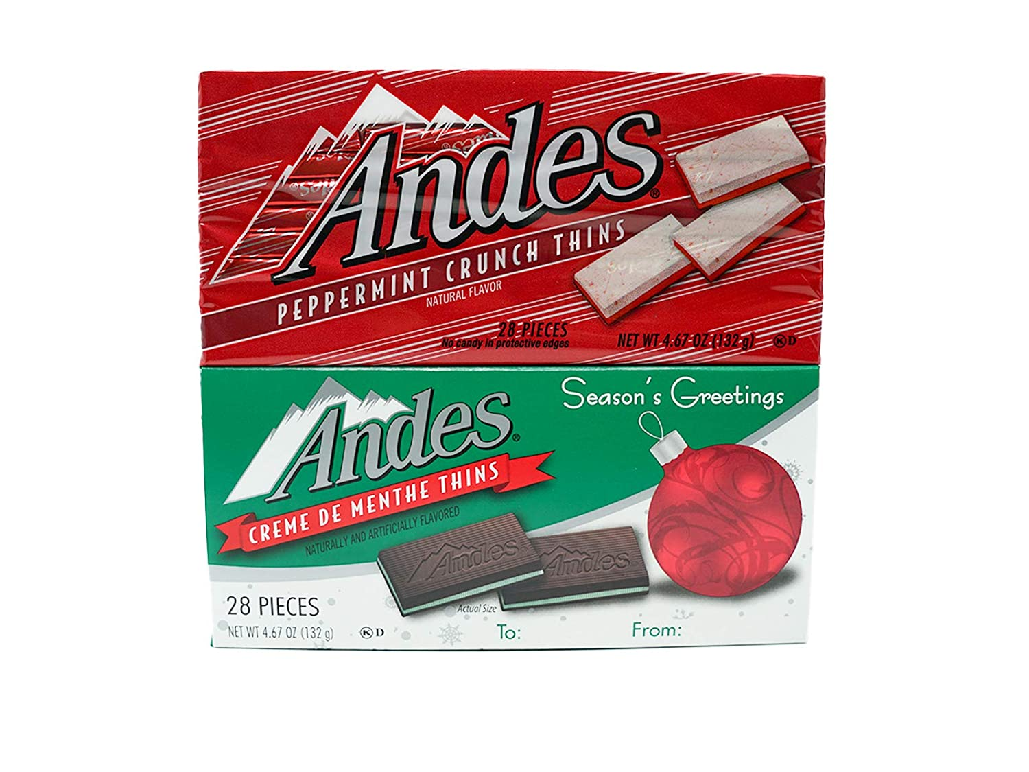 Andes Mint and Peppermint Crunch Thins Chocolate Pack, Holiday Candy Treat Boxes, Set of 2, 28 Pieces in Each