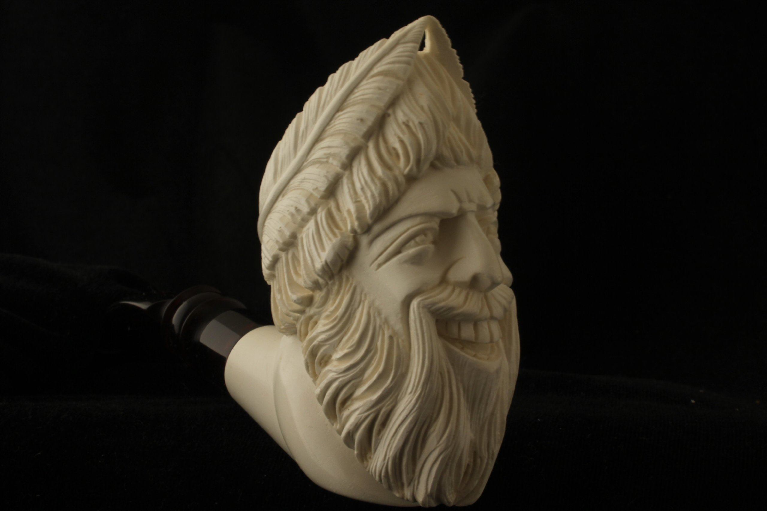 ZEUS - Meerschaum Pipe - Hand Carved from the Best Quality BLOCK Meerschaum - Comes in a CASE - NEW