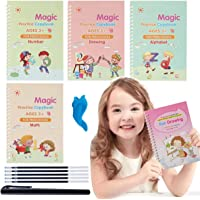 Magic Practice Copybook,Reusable Calligraphy Copybook Tracing Book for Preschool with Pen,Handwriting Copybook Set…