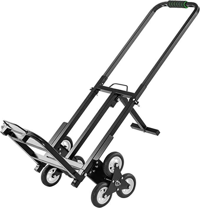 Adjustable Handle Length Dolly Cart Trolley for Stairs Flat Ground Hihone Stair Climber Hand Truck Heavy Duty 330LBS Capacity Stair Climbing Folding Hand Truck 6 Wheels /& 2 Backup