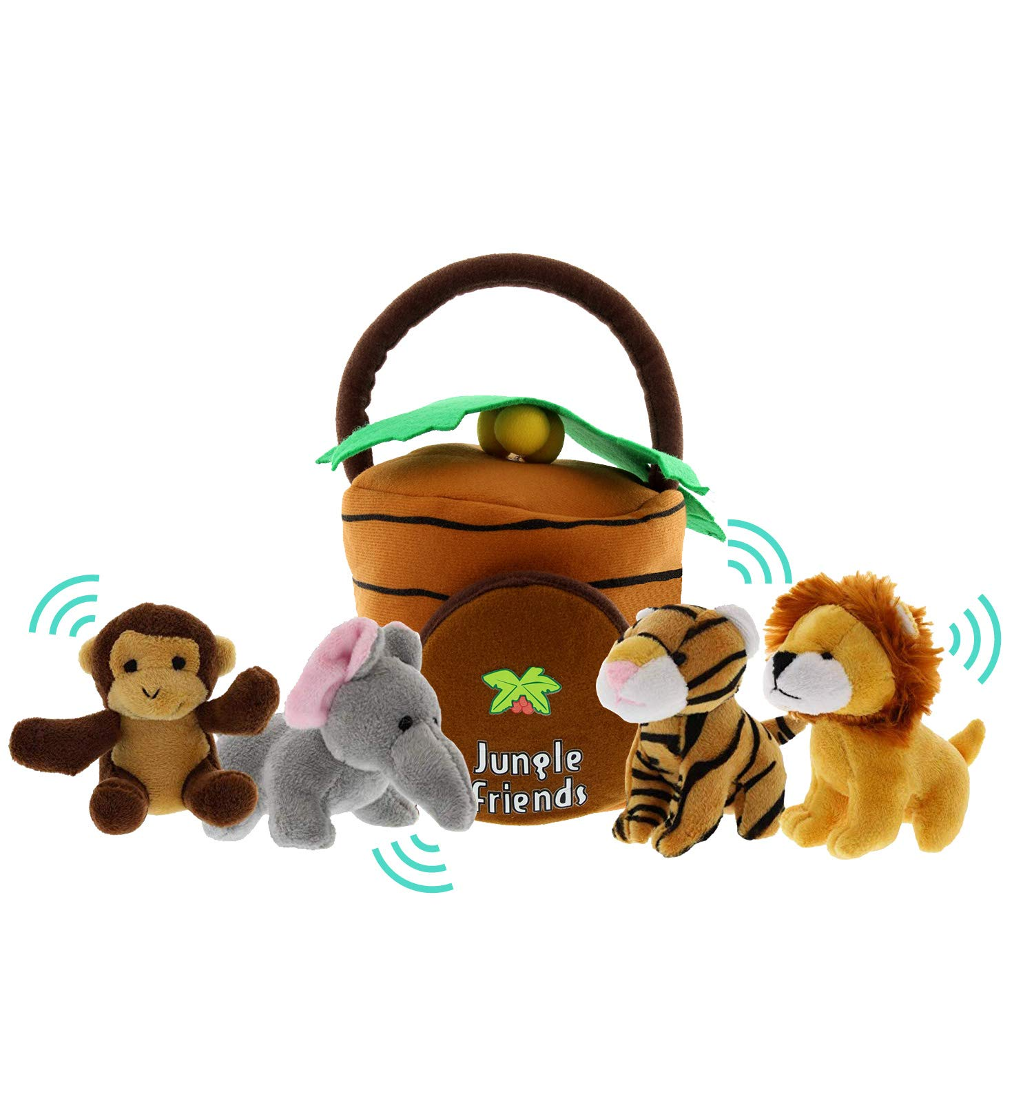Jungle Animals Talking Plush Baby Toy – 5 Piece Small Stuffed Animals Set Including Jungle House Carrier and Stuffed Monkey, Lion, Tiger & Elephant – These Mini Toys are Ideal for Boys and Girls