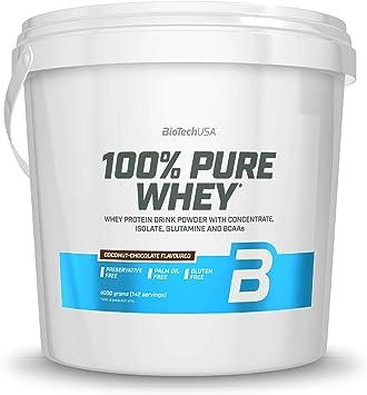 BioTechUSA 100% Pure Whey Complejo de proteína de suero, con aminoácidos añadidos y edulcorantes, sin conservantes, 4 kg, Chocolate-Coco