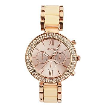 9a8b60fd855e Oumosi Reloj de Pulsera Cuarzo Exquisita Color Rosa de Oro Reloj Femenino  de la Manera  Amazon.es  Hogar