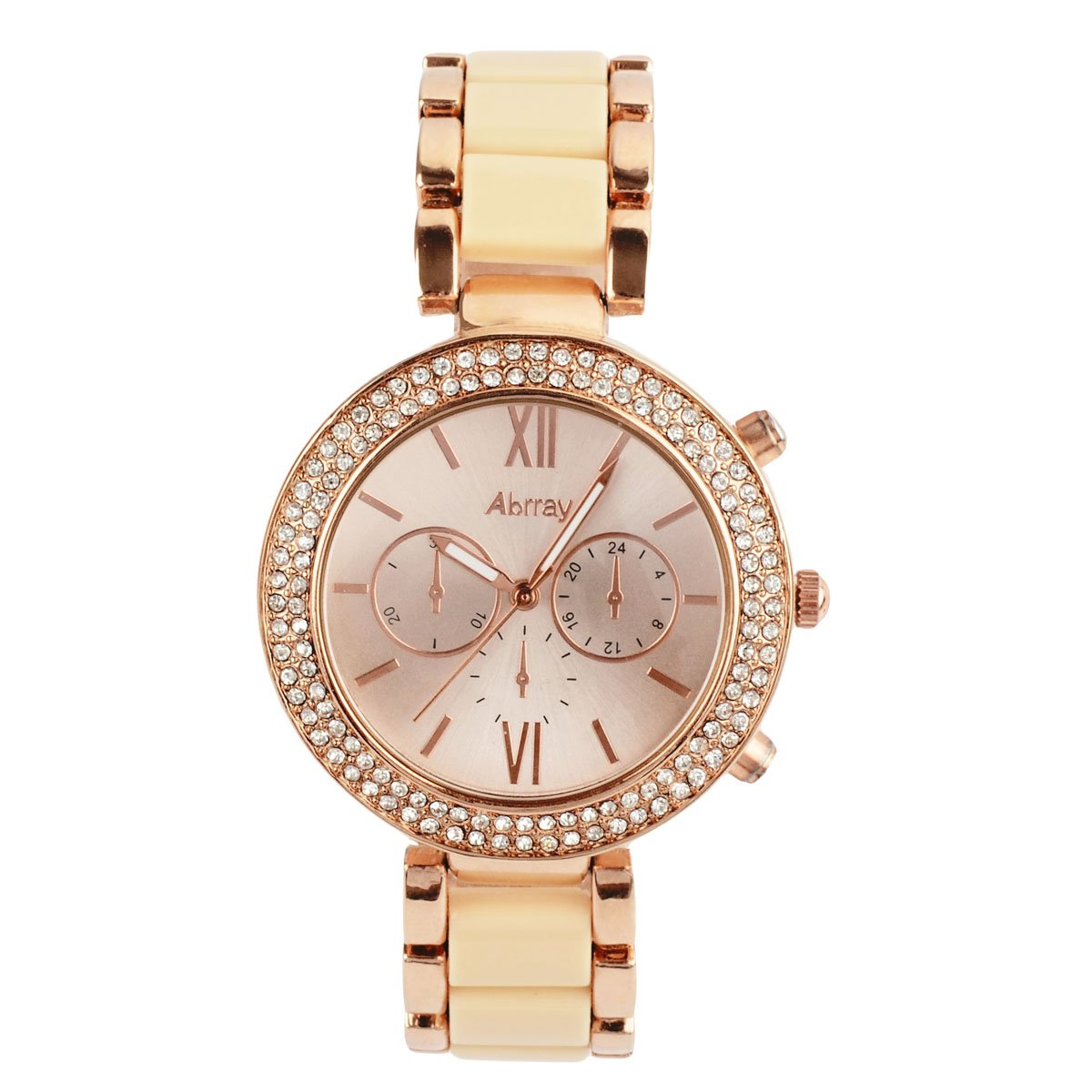 Oumosi Women\'s Swarovski Crystal Accented Gold-Tone and Pink Bracelet Wrist Watch