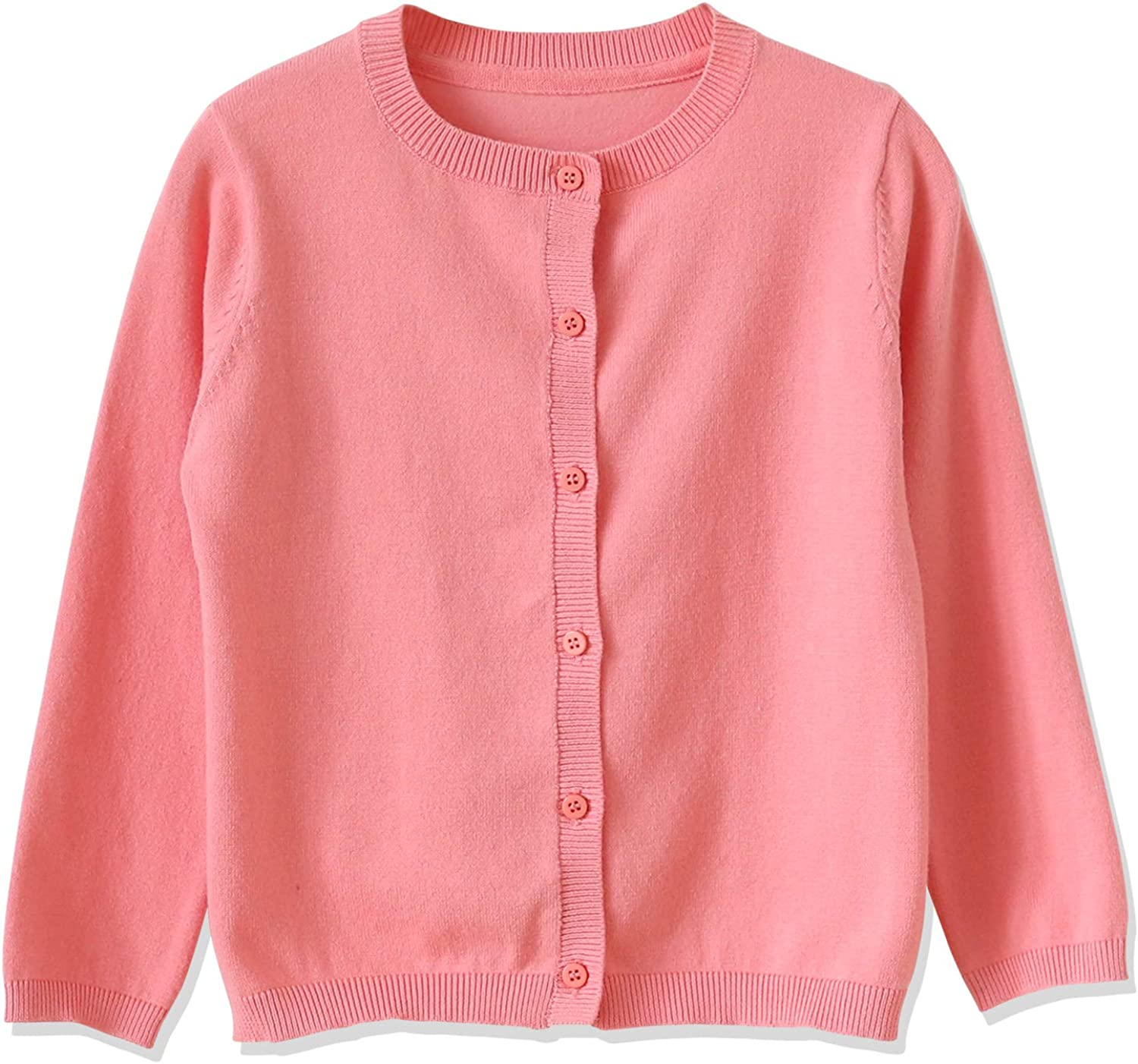 CUNYI Girls Crewneck Lightweight Button-up Cardigan Cotton Knit Sweater Casual Outerwear
