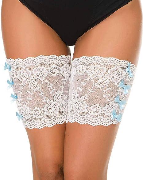 Image of heekpek Elastic Lace Thigh Stockings Bandas de Encaje con Lindo Nudo de Proa Thigh Bands Anti Ferture Banda De Silicona Calcetines Antideslizantes de Silicona