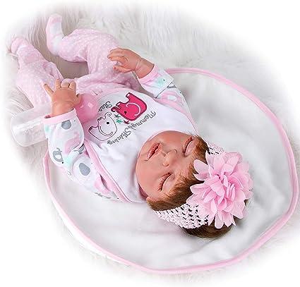 iBoosila Puppe Lebensechte Babypuppen Realistisch Silikon Vinyl Handgefertigt Simulation Reborn Puppen Neugeborenes M/ädchen Junge