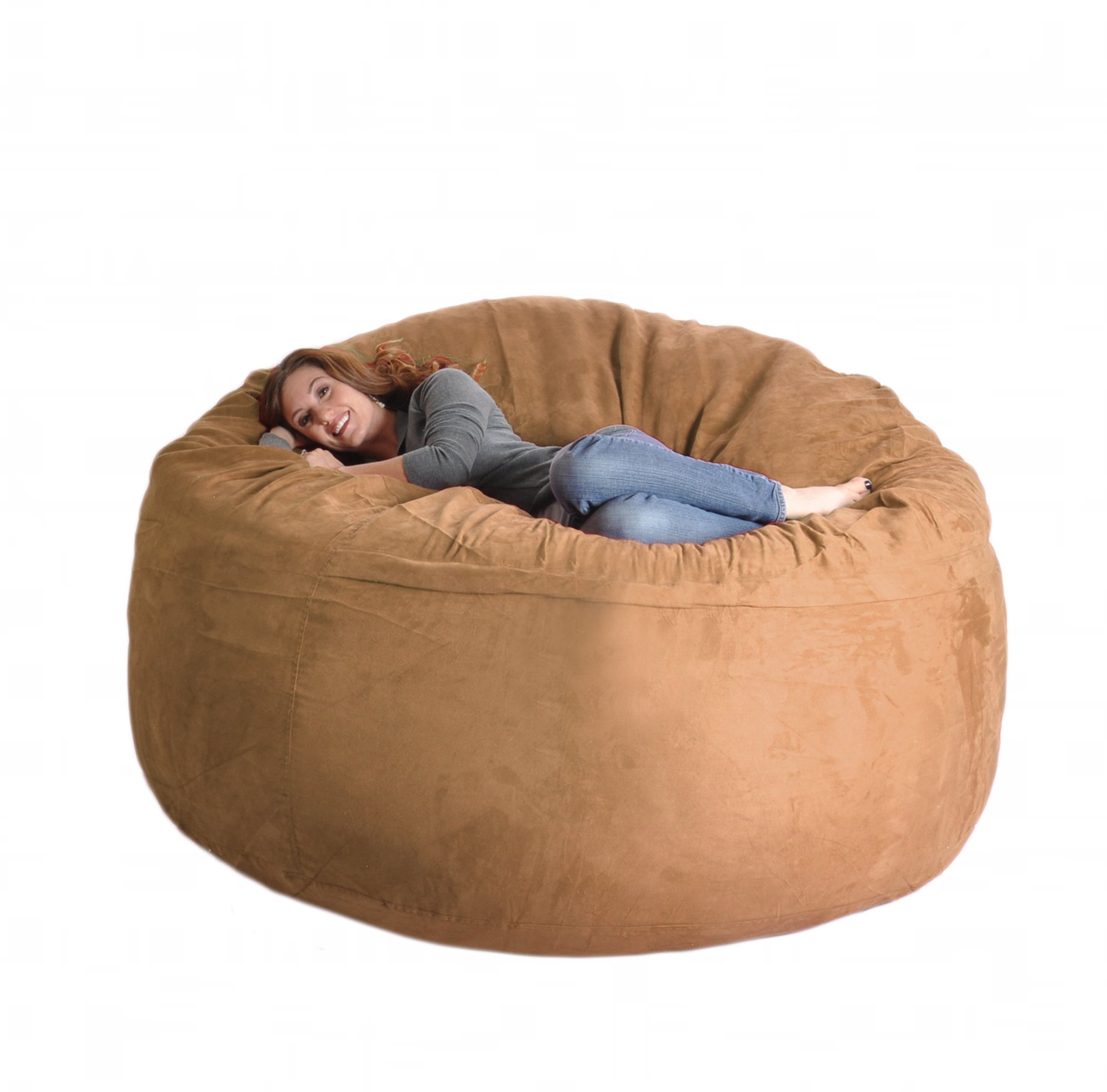 SLACKER sack Microfiber Foam Microsuede Beanbag Chair, 6-Feet, Earth Brown