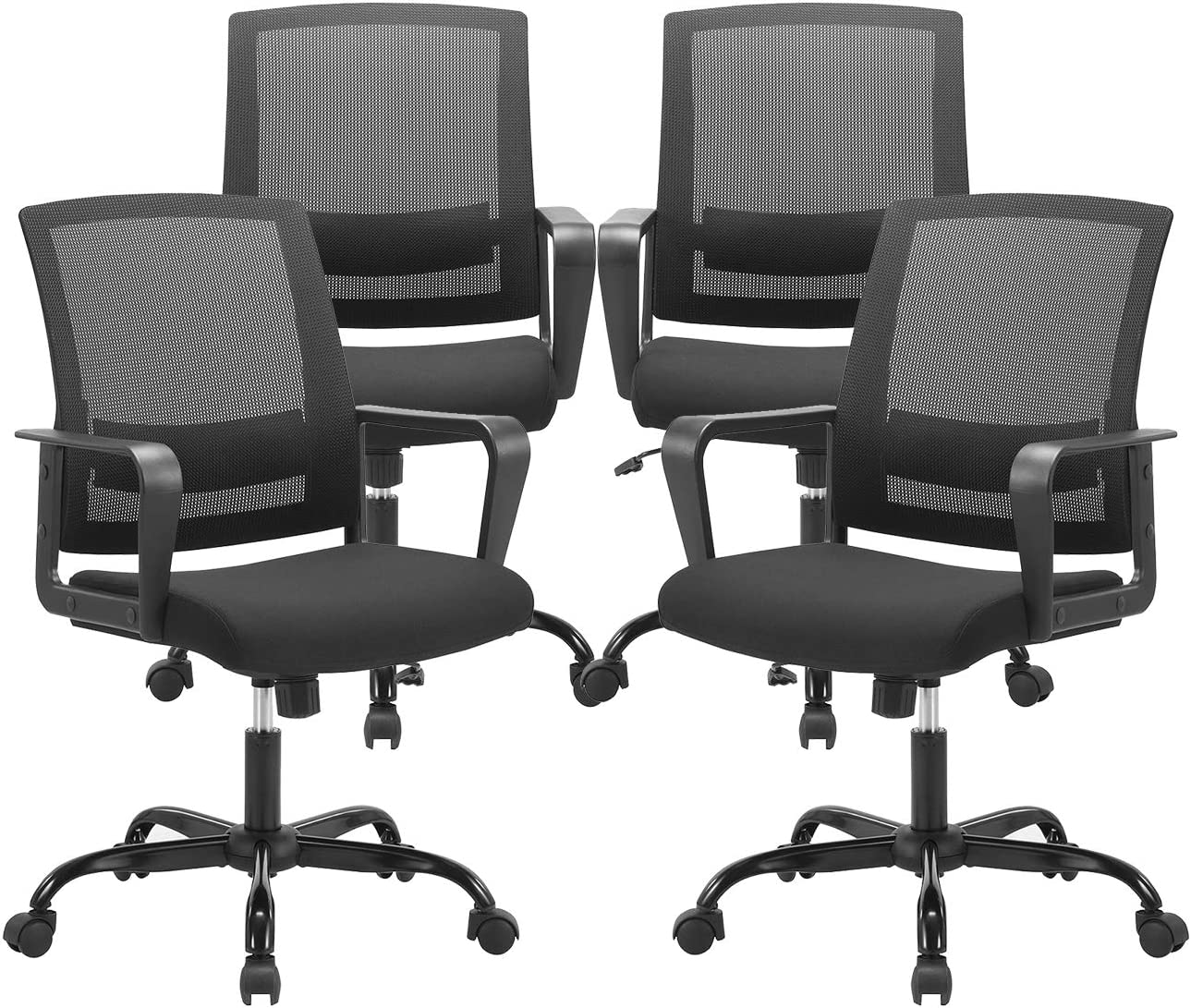 CLATINA Ergonomic Rolling Mesh Desk Chair with Executive Lumbar Support and Adjustable Swivel Design for Home Office Computer Black 4 Pack