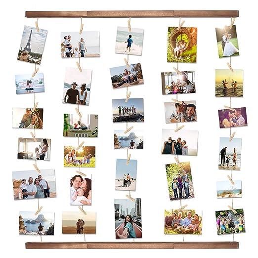 VENCIPO DIY Marcos de Madera para Decoración de Paredes Colgantes, Organizador de Fotos de Visualización de Múltiples Fotos con 30 Clips.: Amazon.es: Hogar