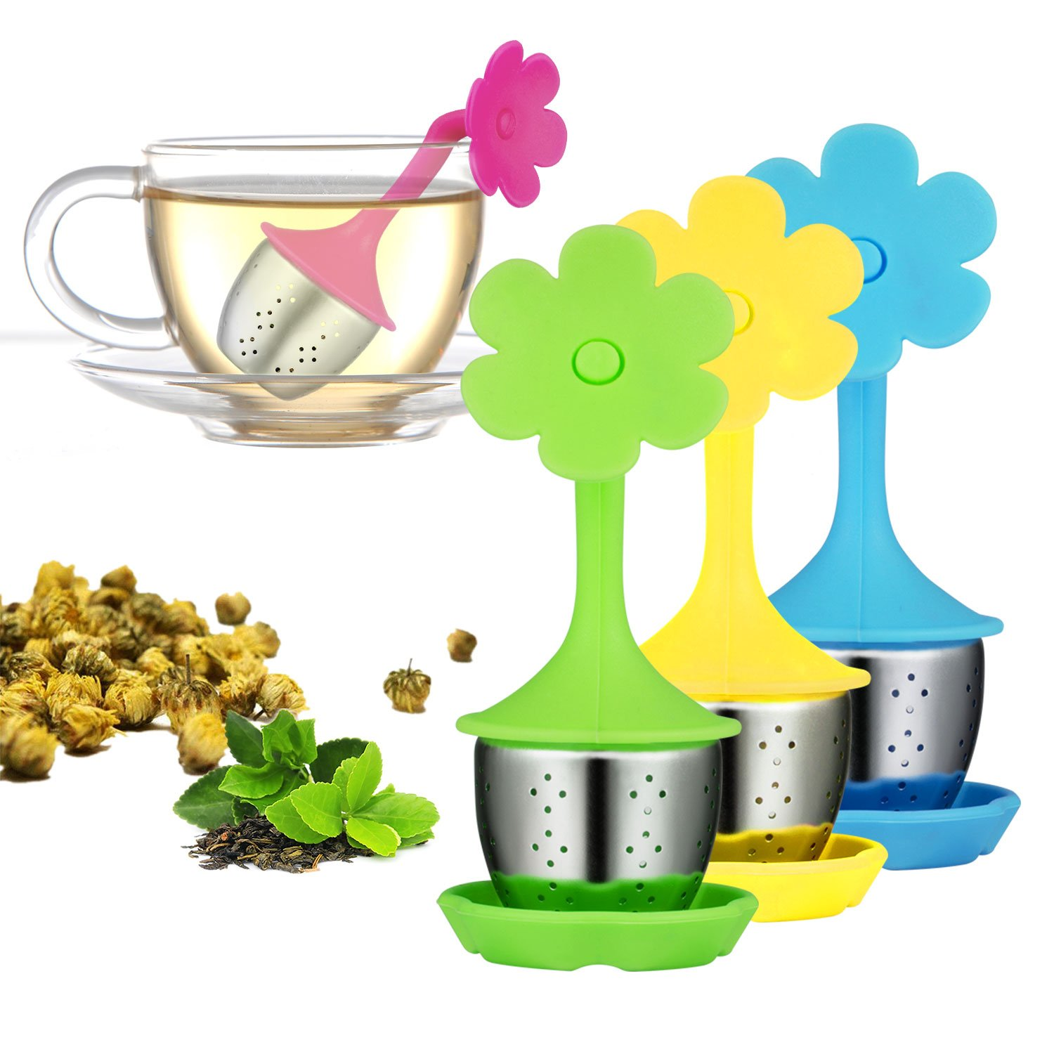 Tea Bag Infuser-Senbowe™ 3 Pack Colorful Genuine Premium Silicone Umbrella Reusable Tea Ball Infuser Strainer Steeper Set for Loose Leaves & Herbal Teas-Great Gift for Tea Lovers