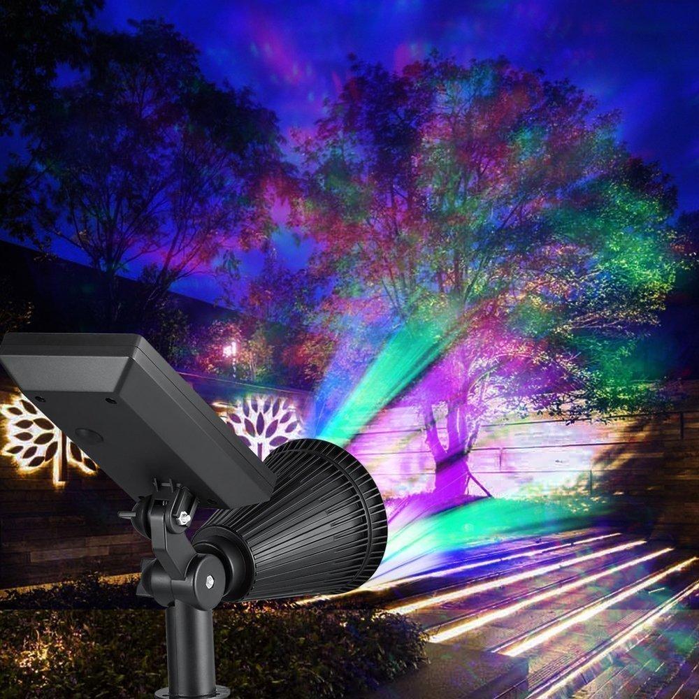 LED Solar Spotlight, T-SUNRISE 4 LED Solar Lights, IP65 Waterproof Landscape Light Security Lighting Dark Sensing Auto On/Off, Adjustable for Tree, Patio, Yard, Garden, Driveway, Stairs, Pool Area (4P by T-SUNRISE (Image #6)