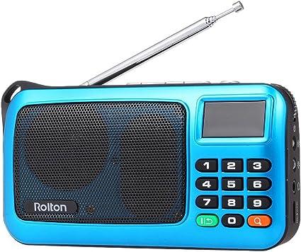 Docooler Rolton FM Radio Digital Portátil USB con Cable Equipo Altavoz Receptor estéreo HiFi con Linterna LED Pantalla Soporte TF Música Play
