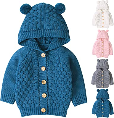 Petyoung Baby Knitted Sweater Romper Longsleeve Hooded Jumpsuit for 3-24M Baby Boy Girls