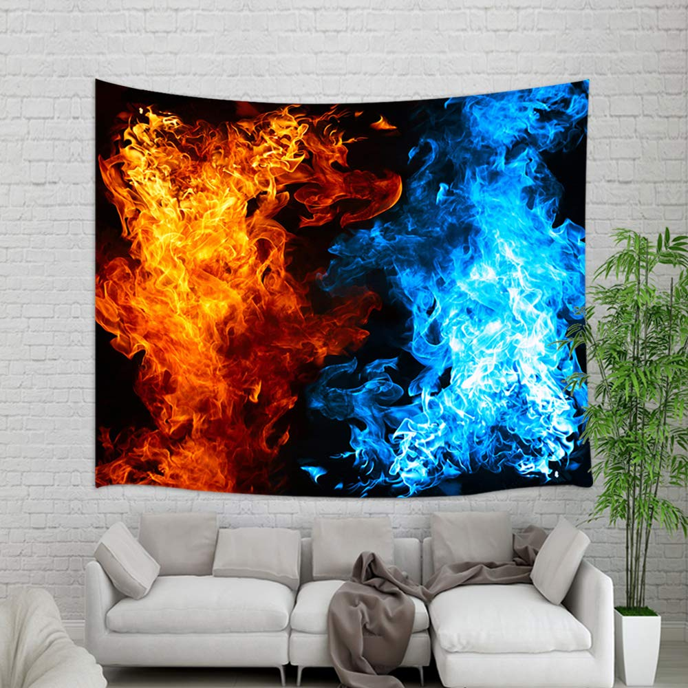 NYMB Modern Art Creative Ice Fire in Black Wallpaper Tapestry Wall Hanging, Fashion Teen Boy Cool Wall Blanket for Home Decorations College Dorm Decor Living Room Bedroom Bedspread, 60X40in