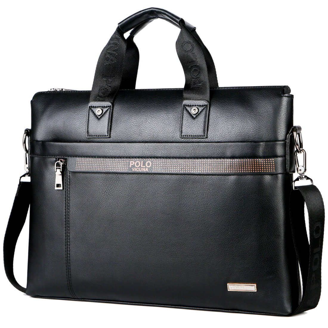 VICUNA POLO Men Briefcase Bag Business Bag Leather Laptop Bag Man Bag Handbag (black for 15.6inch)