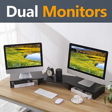 Amazon Com Tavr Black 3 Shelf Dual Monitor Stand Riser With Length