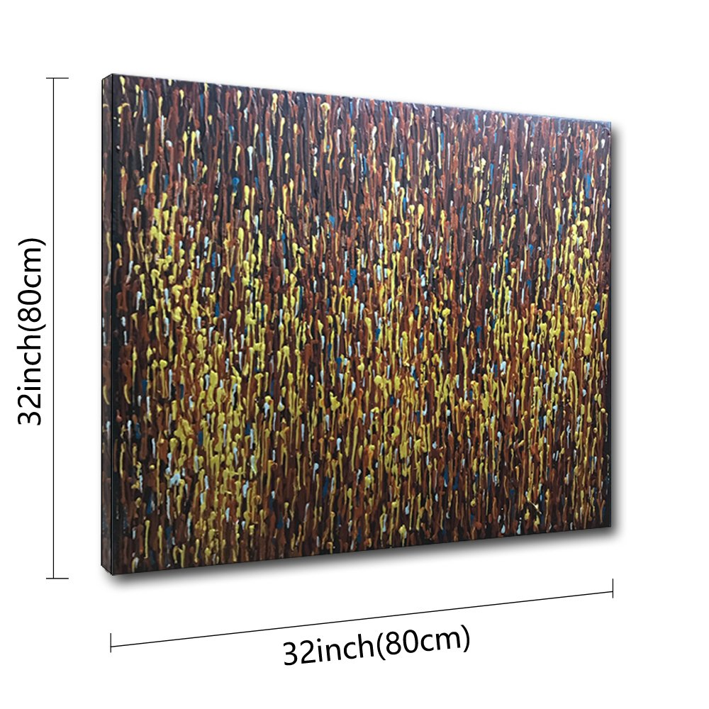 Desihum - Modern Abstract 3D Hand Painted Oil Painting Palette Knife Picture For Wall White Gold Red Home Decor Minimalism Square Artwork Framed Canvas Office Hotel Wall Art (32''x32'')