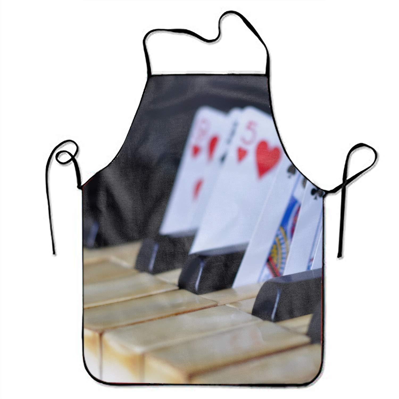 aportt ユニセックス 防水エプロン バルクユニコーン キッチンエプロン 調節可能なストラップ付き クッキングガーデニング用 One Size  Piano and Playing Cards3 B07GLJMWS6