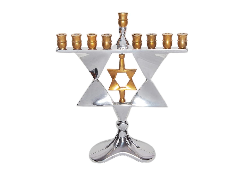 Insideretail - Candelabro menorah, con motivo a stella, in alluminio lucido, 23 x 25 x 13 cm 501229