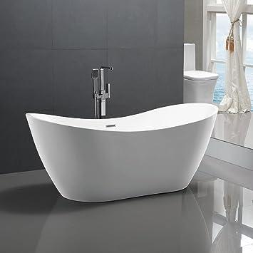 Freistehende Badewanne Bremen 180x80cm Sanitäracryl Weiß Modern ohne ...