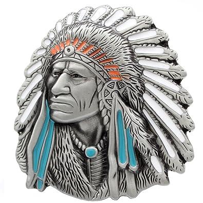 4b63a81bcc8 Boucle de ceinture en forme de tête de chef indien