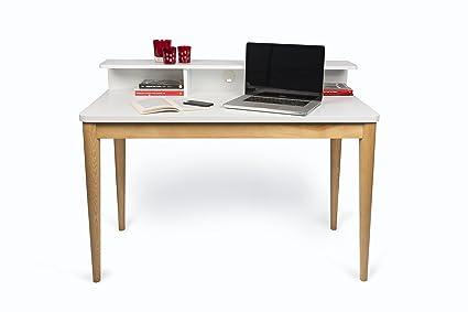 Scrivania In Legno Bianco : Temahome xira scrivania legno rovere e bianco  cm