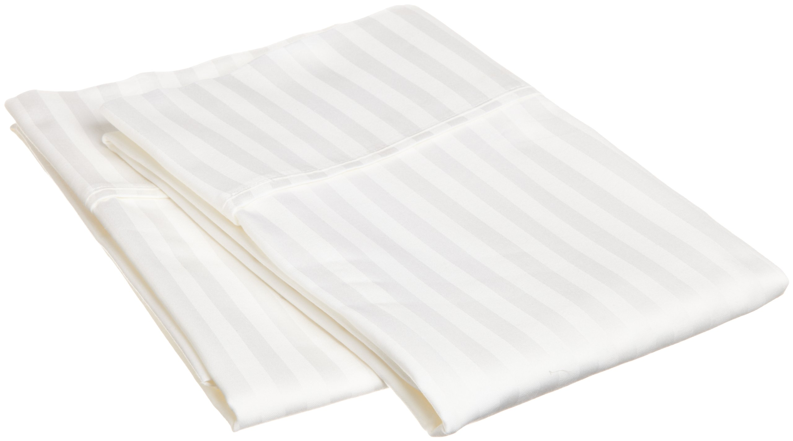 Superior 100% Premium Soft Combed Cotton Pillowcase Cover Pair, Sateen Stripes, King - White
