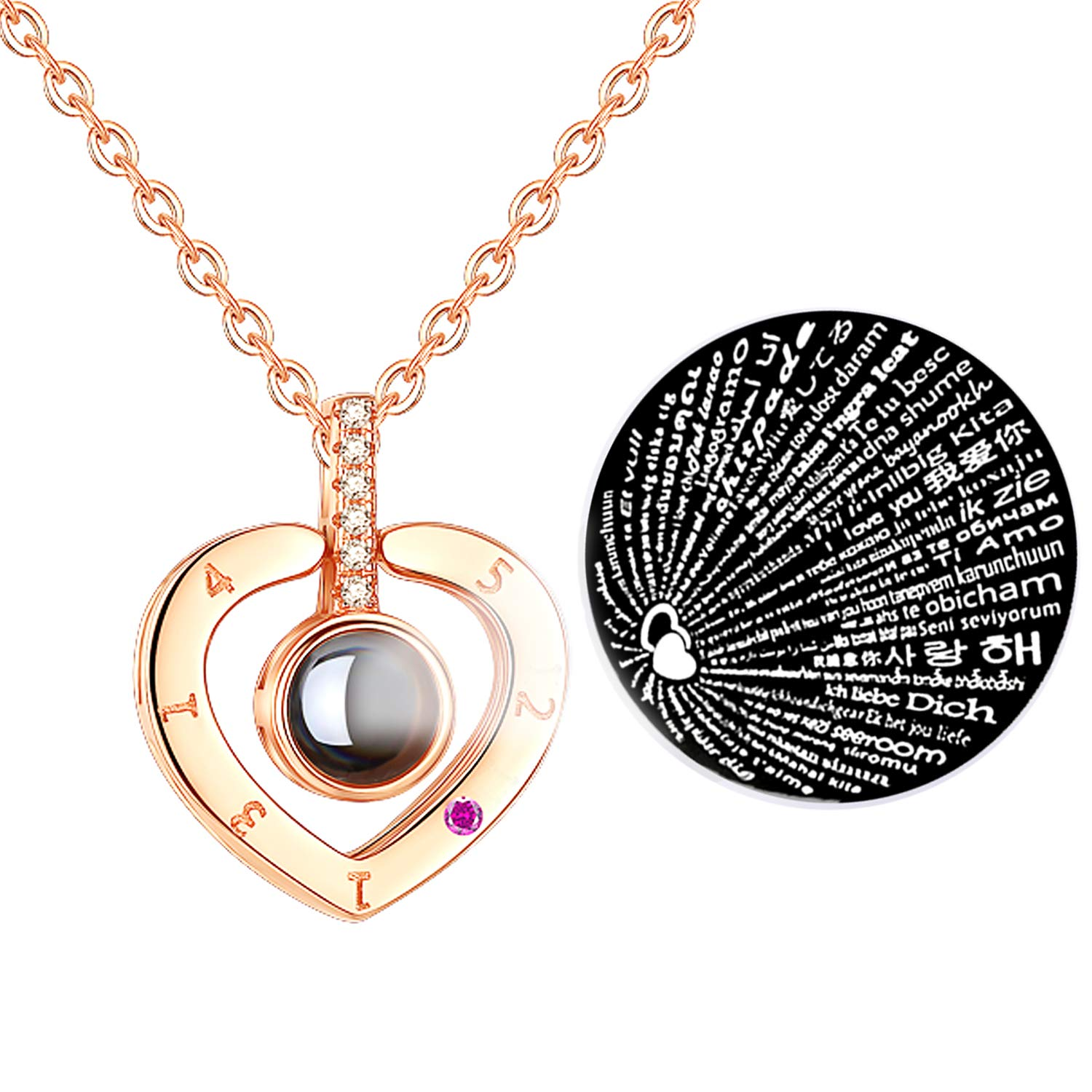 Cuidado 925 Sterling Silver Projective Necklace A-Custom Photo on it DOUYIN Necklace 100 Different Languages for I Love U 100 Different Languages for I Love U DOUYIN Necklace The Memory of Love Nanotechnology Necklace