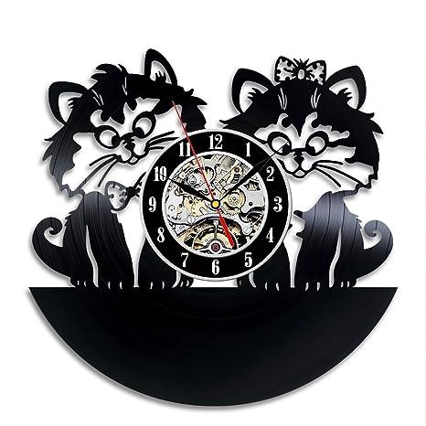 Gatos Arte Vinilo Pared Reloj Sala De Regalo Hogar Moderno Record Vintage decoración