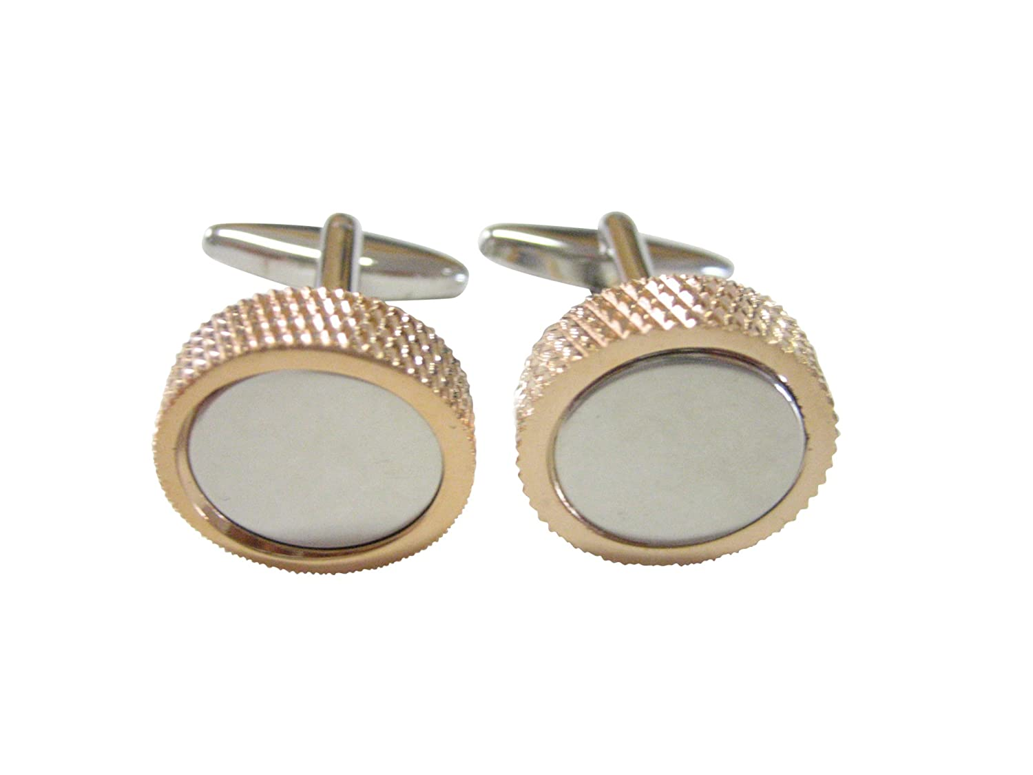 Dual Toned Textured Circle Cufflinks