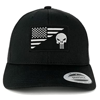 Punisher Black White American Flag Embroidered Patch Mesh Back Trucker Cap  - BLACK ea3883ed005