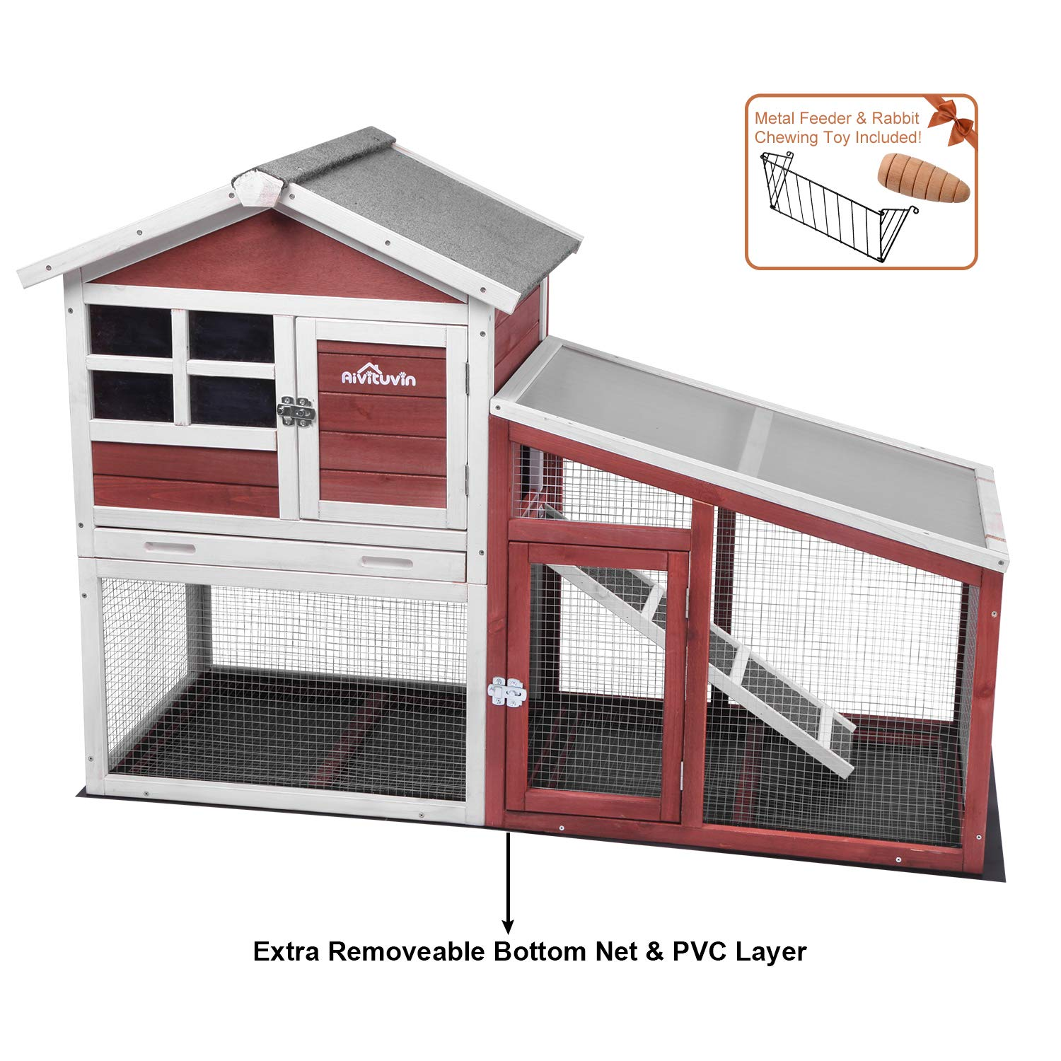 Aivituvin Chicken Coop Indoor and Outdoor Wooden Hen House with Removable Bottom Wire Mesh & PVC Layer,Rabbit Hutch with Deeper No LeakageTray,UV Panel ¡­