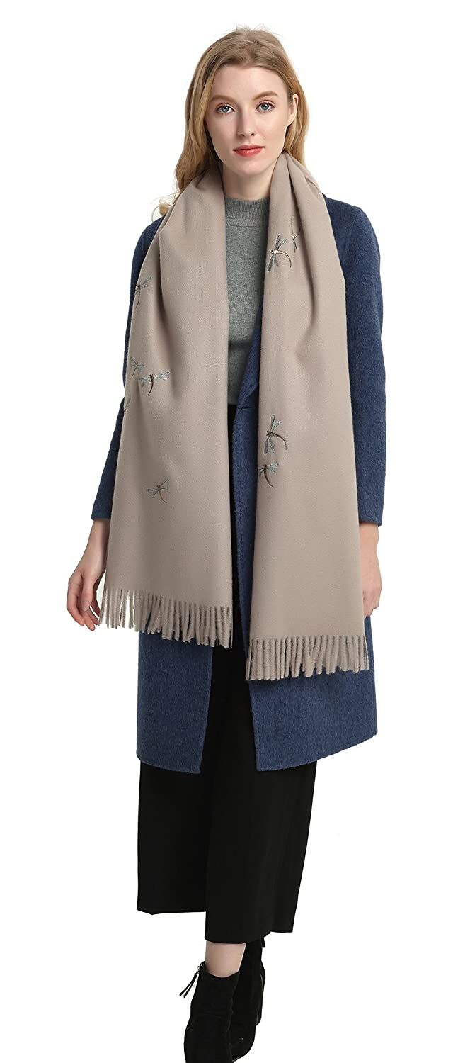 Pizoff High-grade Long Thicken Wool Scarf Winter Warm Wrap Shawl With Fringe Dragonfly Embroidery