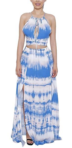 Mujer Conjuntos De Crop Top Y Faldas Largas Dos Piezas Ropa Dama Moderno Verano Elegantes Casual