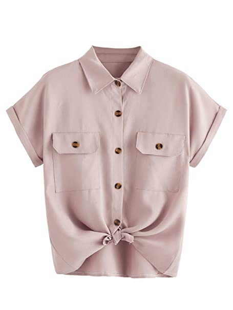 2c997424 SheIn Women's Plain Lapel Collar Rolled Sleeve Knotted Front Blouse Small Dusty  Pink#2