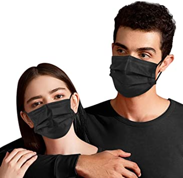 Face Masks Disposable Black 100 pcs, 3 ply Breathable Safety Mask with Elastic Ear Loops and Metal Nose Wire Clip, Protective Comfortable Facial Cover Mask for Adult, Women, Children