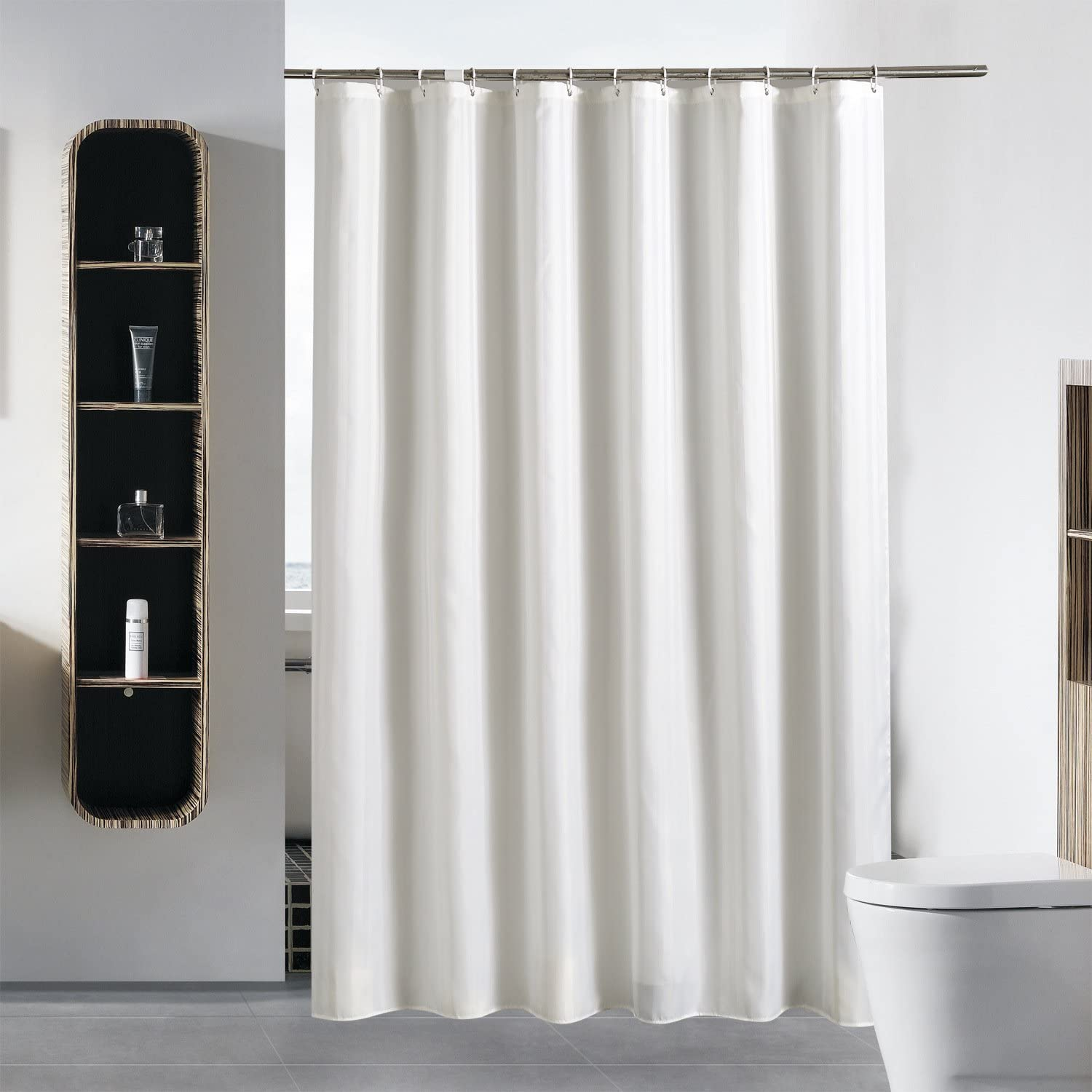 Gonove Shower Curtain with White Plastic Hooks Water Resistant Fabric Extra Long Shower Curtains Liner for Bathroom, Machine Washable and Heavyweight Hem (White, 180 x 180 cm) White 180 x 180 cm