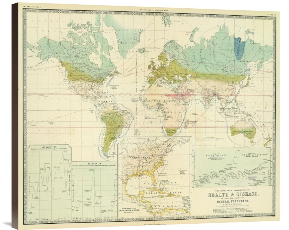 Global Gallery GCS-295532-30-144 ''Historical Map Alexander Keith Johnston Health Disease 1856'' Museum Wrap Giclee on Canvas Wall Art Print