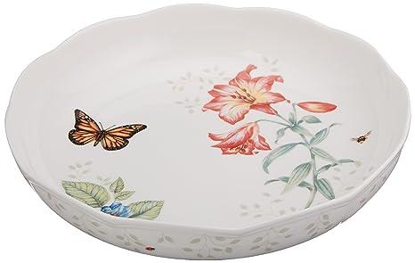 Amazon.com | Lenox Butterfly Meadow Low Serve Bowl: Fine China Place ...