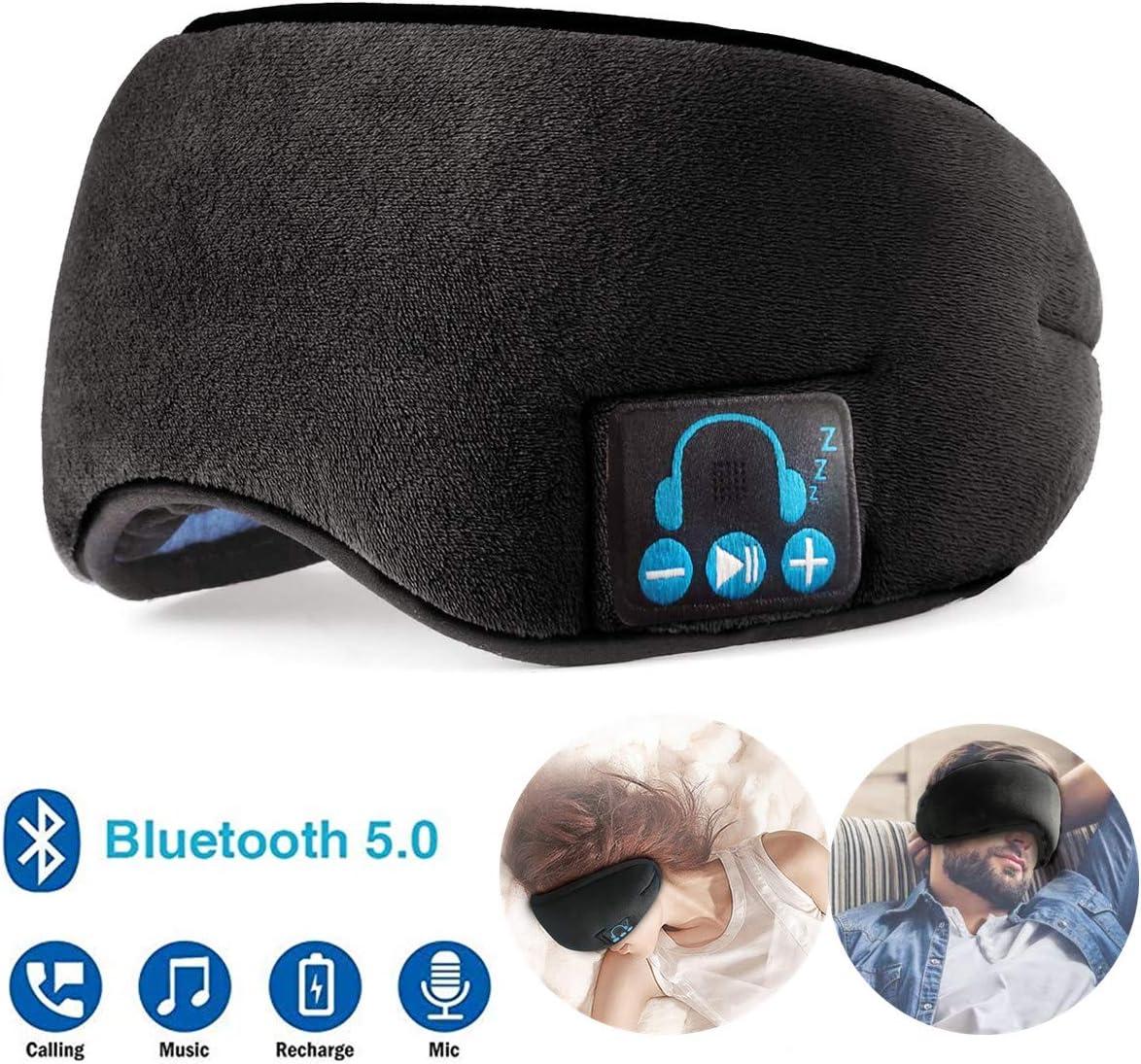 Bluetooth Sleep Headphones, Wireless 5.0 Sleeping Eye Mask Travel Music Headset for Side Sleepers, Built-in Washable Microphone Speakers