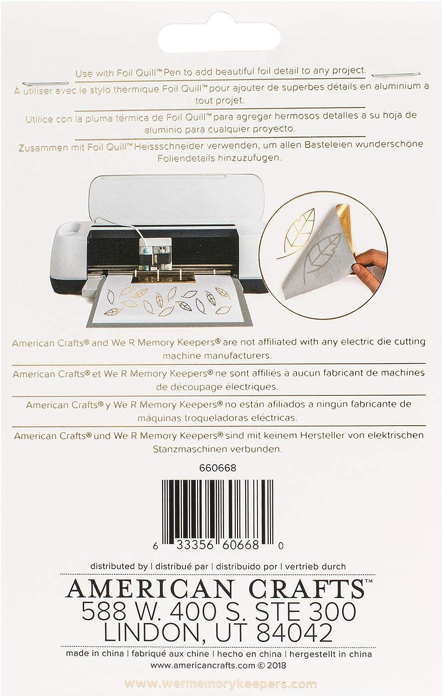 We R Memory Keepers Foil Set de 30 Hojas Cisne Plateado para Usar Junto con Quill Pen y Crear Brillantes Adornos y Dise/ños 10,1 x 15,2 cm 10.1 x 15.2 cm