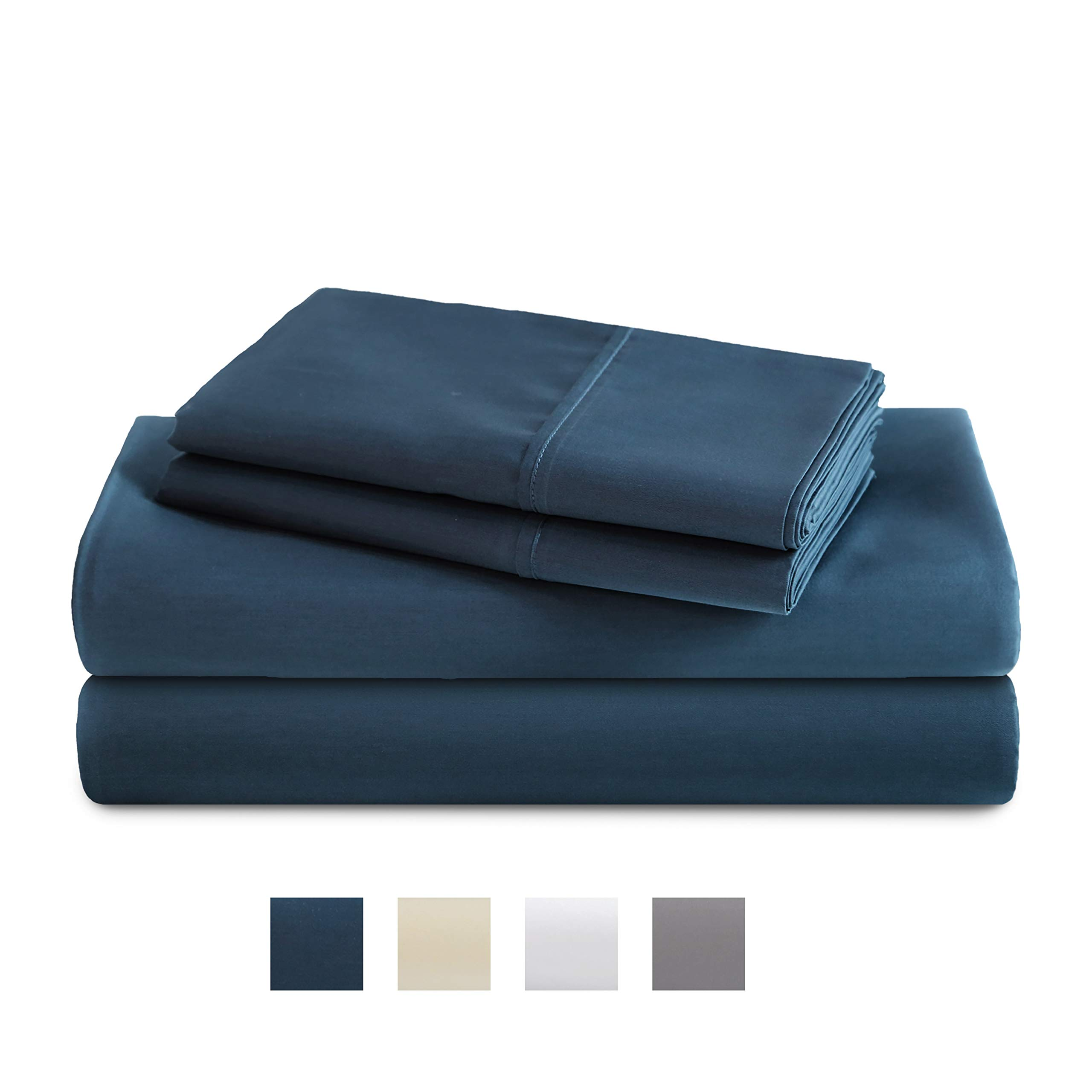 TRIDENT Queen Sheets, 400 Thread Count Sheet Set, 100% Cotton Sateen Weave, Moisture Wicking, Wrinkle Resistant, 4 Piece Sheet Set, Techno-fit, Soft, Air Rich Technology (Sea Blue, Queen) by TRIDENT