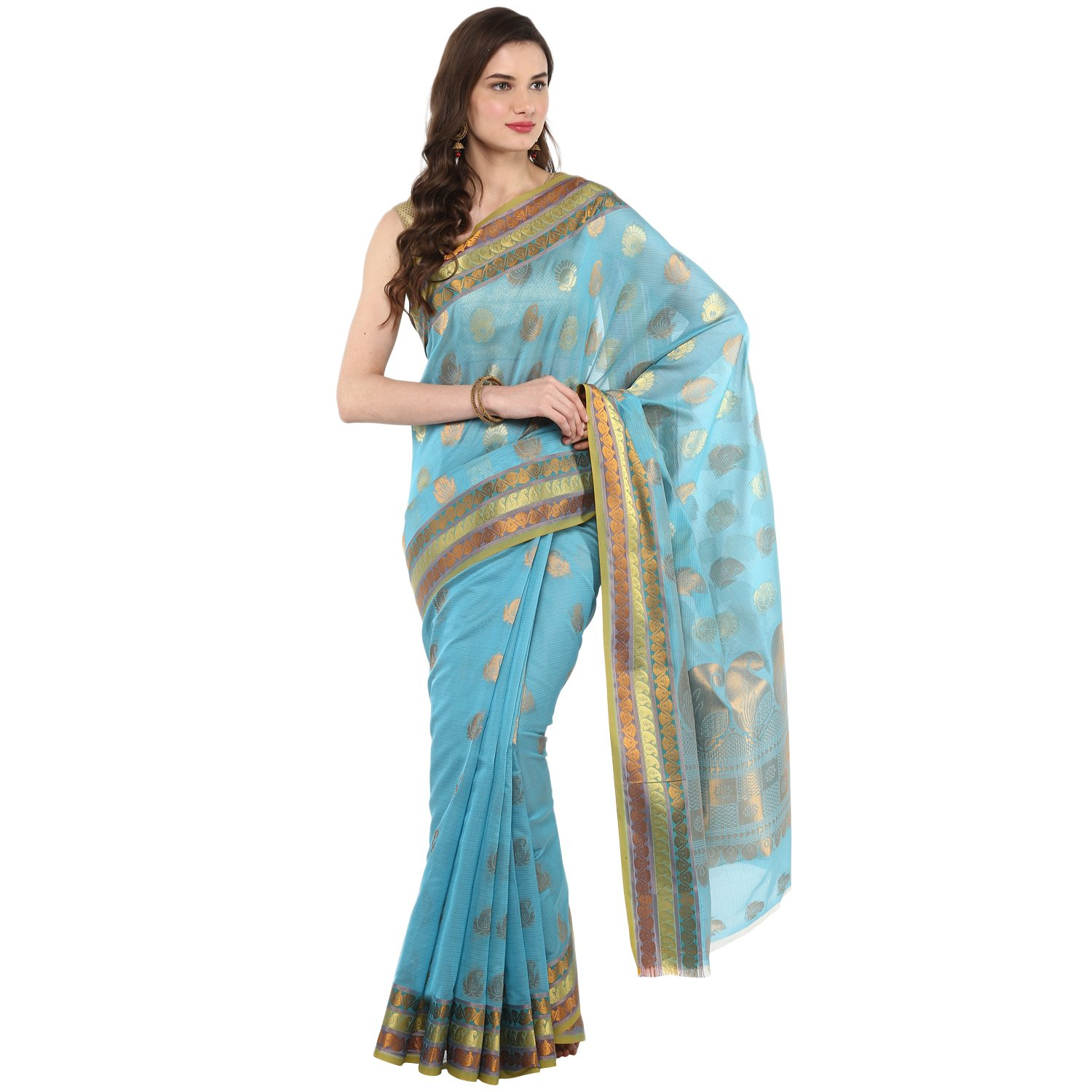 Fasherati Turqoise Color Organza Silk Saree With Brocade Border And Blouse For Women