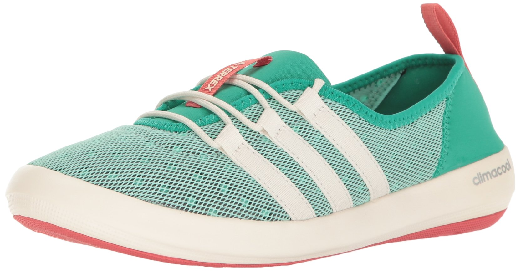 adidas outdoor Women's Terrex Climacool Boat Sleek Water Shoe, Core Green/chalk White/Tactile Pink, 6.5 M US