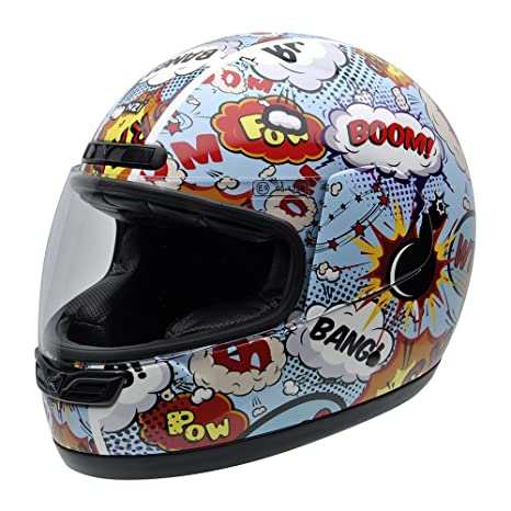 NZI 050290G710 Class Jr Graphics Boom Casco de Moto, Explosiones de Comic, Talla 55