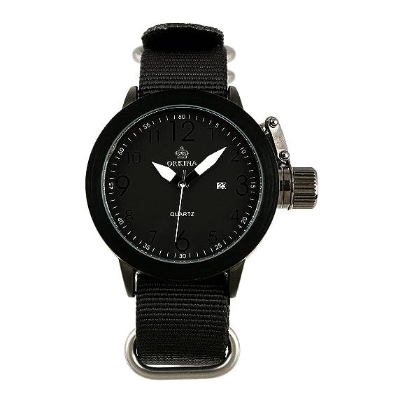 Los Hombres Línea Negro Cuarzo Reloj del Ejército Tela Visualización La Fecha MILITAR Manos Blancas Hombre