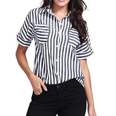 91f89f495c5a1 Women Casual Shirts Striped Print Short Sleeve Tops Pocket Loose Workout  Blouse at Amazon Women s Clothing store