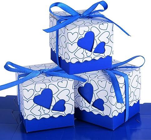 Segnaposto Matrimonio Blu.Wady 100 Pz Scatole Portaconfetti Di Carta Incluso Nastrino